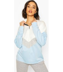 chervron colour block zip high neck sweatshirt, blue