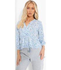 geweven bloemenprint peplum wikkel blouse, blue