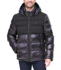 tommy hilfiger men's two-tone matte & shiny puffer jacket