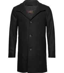 storviker coat wollen jas lange jas zwart oscar jacobson