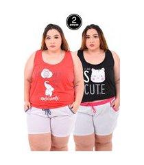 kit 2 short doll serra e mar modas pijama feminino plus size cores sortidas