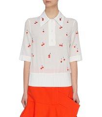 cherry embroidered elastic waist polo shirt