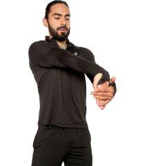 camiseta manga larga negro asics