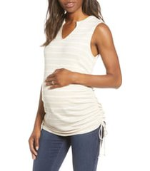 women's fourteenth place ruched side tie maternity tank, size medium - beige