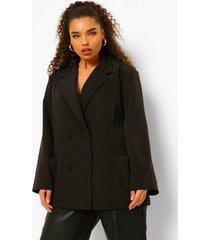 plus oversized blazer met zak detail, black