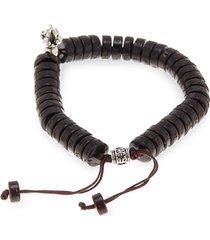 adjustable wood & silvertone bracelet