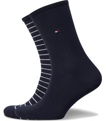 th women sock 2p small stripe lingerie socks regular socks blå tommy hilfiger