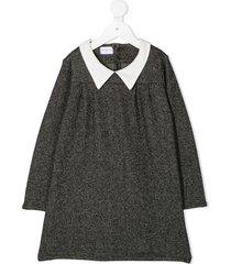 violeta e federico point collar a-line dress - black