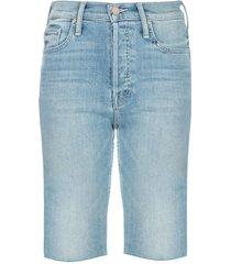 mother tomcat skinny denim shorts - blue