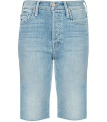 mother tomcat skinny denim shorts - blue