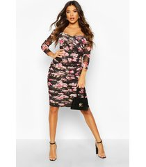 floral off shoulder ruched mesh bodycon midi dress, black