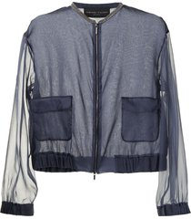 fabiana filippi sheer silk bomber jacket - blue
