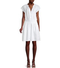 saks fifth avenue women's smocked linen dress - white - size s