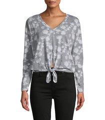 floral-print cotton-blend top
