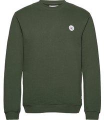 our braxy patch crew sweat-shirt trui groen woodbird