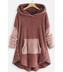 two tone high low faux shearling hoodie