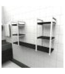prateleira industrial banheiro aço cor branco 120x30x68cm (c)x(l)x(a) cor mdf preto modelo ind31pb