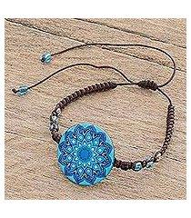 glass beaded macrame pendant bracelet, 'blue rivers' (costa rica)