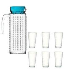 kit 1 jarra de vidro ladrilhos azul 1,2 litros e 6 copos de vidro sture móveis