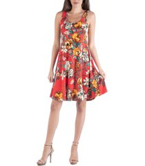 24seven comfort apparel red floral print a-line fit and flare mini dress
