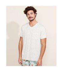camiseta masculina básica com bolso manga curta gola v cinza mescla claro