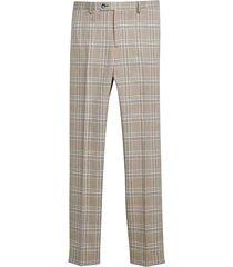 paisley & gray men's slim fit suit separates pants tan & teal plaid - size: 29