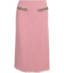 blumarine boucle pencil midi skirt