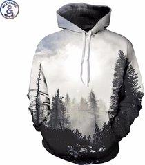 new fashion autumn winter men/women thin sweatshirts with hat 3d print trees ho