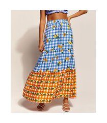 saia feminina emi beachwear longa estampada picnic frutas com recortes multicor