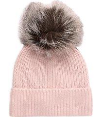 amicale women's cashmere & fox fur pom-pom beanie - pink