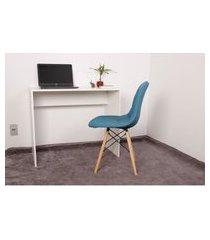 kit escrivaninha 90cm branca + 01 cadeira eiffel botonê - turquesa