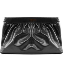isabel marant black leather clutch