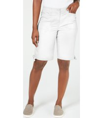 karen scott petite 12-inch tie-hem shorts, created for macy's