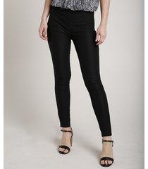 calça feminina legging em jacquard preta
