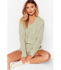 womens knit's in hoodie and shorts lounge set - sage