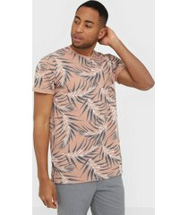 only & sons onsiason slim ss aop tee noos t-shirts & linnen ljus rosa