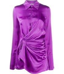 the attico ruched mini shirt dress - purple