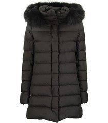 ultra-light asymmetrical down jacket with fur