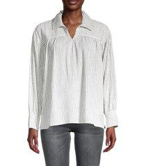sundays women's caplan pinstriped shirt - black white - size 0 (xs)