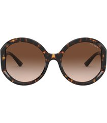 prada 55mm round sunglasses in havana brwn gradient at nordstrom