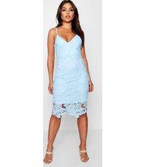 boutique gehaakte kanten midi jurk met bandjes, hemelsblauw