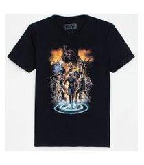 camiseta manga curta estampa vingadores | avengers | preto | g