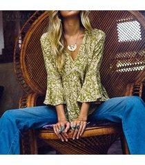 zanzea mujeres impresión floral abocinada camisa de manga tops túnicas delgada blusa de v profundo tops plus -verde