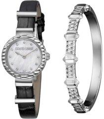 roberto cavalli by franck muller women's diamond swiss quartz black calfskin leather strap watch & bracelet gift set, 26mm
