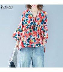 zanzea verano de las mujeres de la manga del batwing floral remata la blusa floja ocasional t-shirts t-plus tamaño -rojo