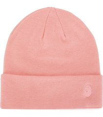 a bathing ape® embroidered logo beanie - pink