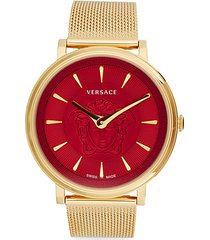 goldtone stainless steel & red medusa dial bracelet watch