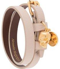 alexander mcqueen skull-charm wrap-around bracelet - neutrals