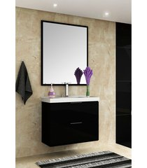 conjunto para banheiro pietra preto/preto brilho bosi - preto - dafiti