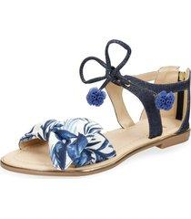 sandalias azul bata xamba r mujer